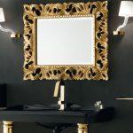 Specchiera Atelier con cornice in 240 oro, senza presa ed interruttore. L 100 x P 5.8 x A 82 cm