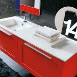 Lavabo integrato Plano in Tekor, con vasca piccola, bianco opaco, con troppopieno. L 211 (max) x P 51 x SP 1.3 cm