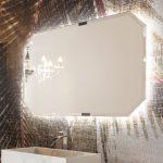 Specchiera sospesa Polygon 2 con telaio in finitura brill, specchio bisellato, senza interruttore. L 120 x P 3 x A 75 cm