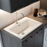 Lavatoio Scotland in ceramica, bianco lucido, con troppopieno. L 61.5 x P 51.5 x A 28 cm